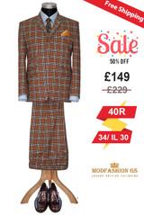 Jack Bruce Men's classical tan glen plaid check suit, Size 40R Jacket, 34/IL 30