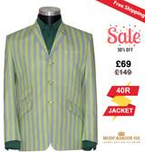 Retro pale green striped boating blazer, 40R Jacket