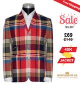 Steve Marriott madras check blazer in multicolor, 40R Jacket