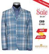 60's fashion white & sky madras check blazer for men, 40R Jacket