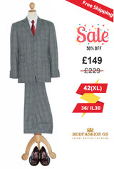 1960s mod style Prince of wales grey suit, 42R Jacket, 36/ IL 30 Trouser