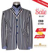 60s mod style navy blue & White Striped Boating Blazer, 40R Jacket