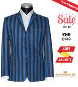 Vintage blue & black striped mod boating blazer,  40R Jacket