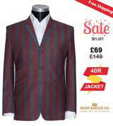 Retro 60's burgundy & grey striped boating blazer, 40R Jacket