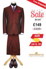Skinhead 1960s burgundy tonic suit,  40R Jacket, 34/ IL 30 Trouser