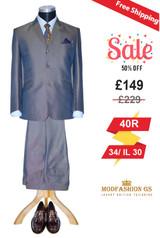 Shark skin golden blue two tone suit 60's, 40R Jacket, 34/ IL 30 Trouser