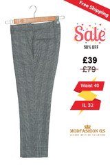 60's retro prince of wales check grey trouser, Waist 40 / IL 32