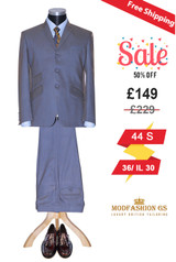 1960's mohair golden blue two tone suit, 44 Short Jacket, 36/ IL 30 Trouser