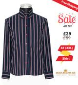 60's style high collar men's navy-blue stripe shirt, Size 48 (3XL)