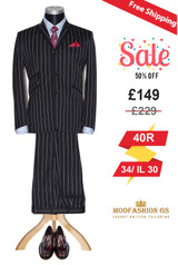 Classic white striped in black 3 button 60's suit, 40R Jacket & Waist 34, IL 30