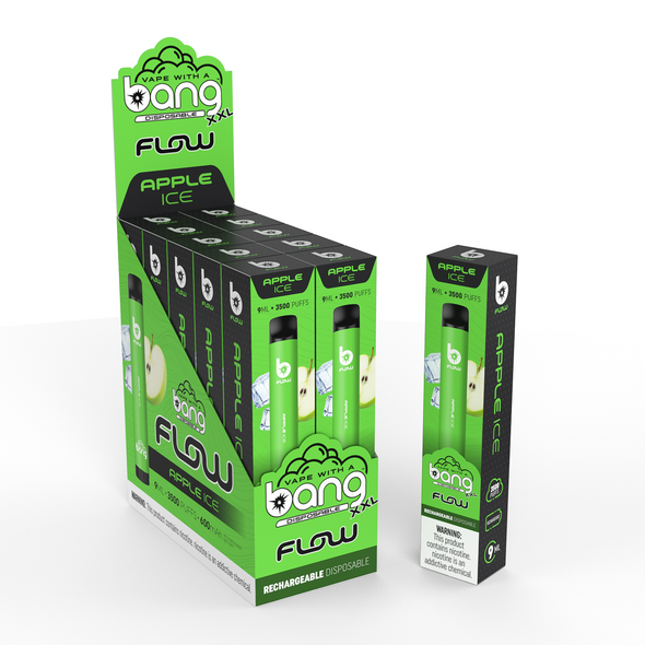 Bang Flow XXL 3,500 Puffs Rechargeable Disposable Vapes - Wholesale Box of 10 Apple Ice