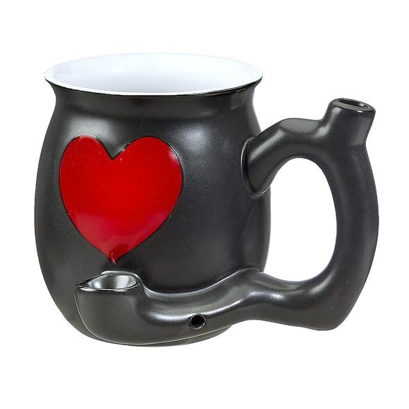 Black Red Heart Mug Ceramic Smoking Pipe