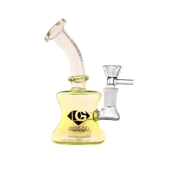 "Diamond Glass Gold Mini 6"" Glass Bubbler DGR517"
