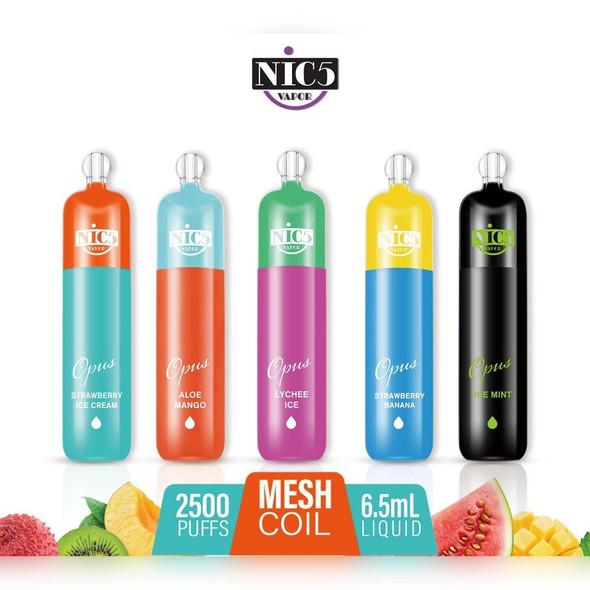 Nic5 Vapor Opus Mesh Coil Disposable Vape 2500 Puffs