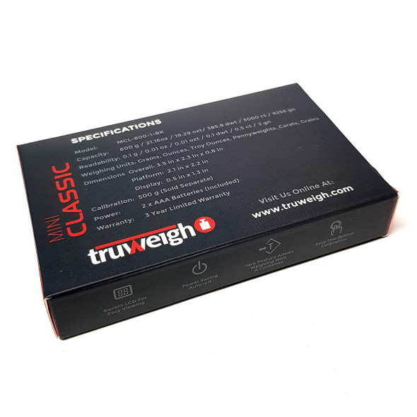 Truweigh Mini Classic Digital Mini Scale 600g x 0.1g back bottom