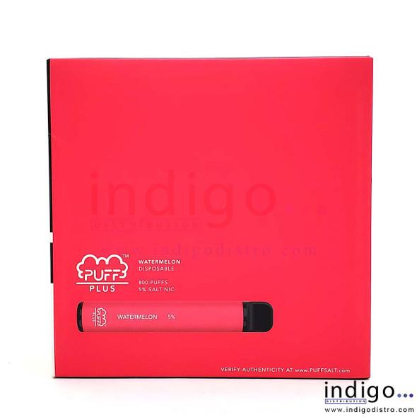 Wholesale Puff Plus Disposable Vape 10 Pack - Watermelon box side