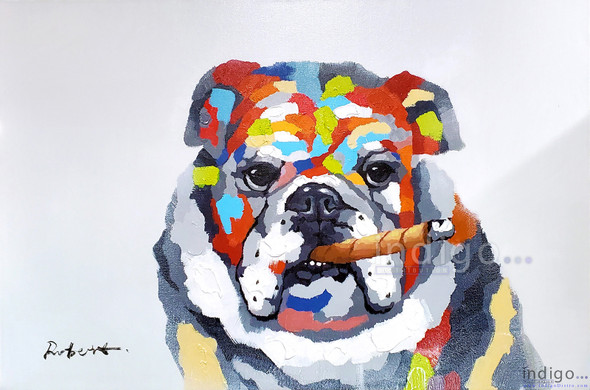 Smoke Shop Artwork Painting - Colorful Bulldog