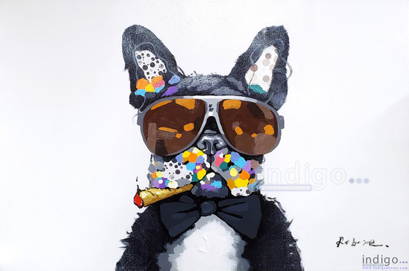 Smoke Shop Artwork Painting - Colorful French Bulldog with Sunglasses