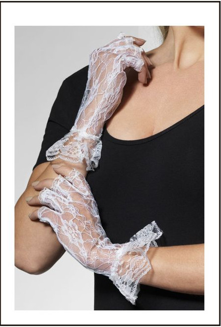 White Lace gloves 80's Party