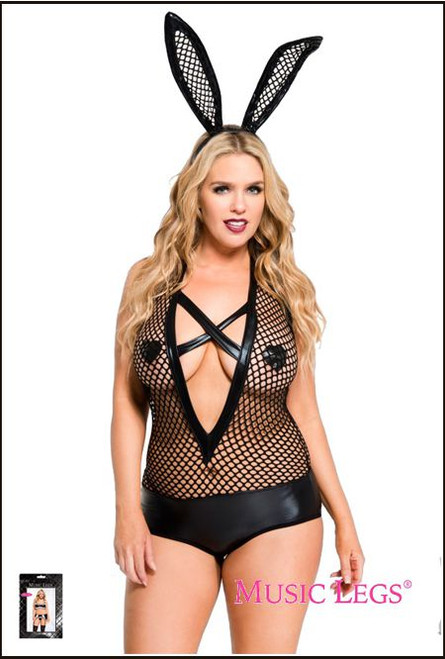 Plus Size Wet Look Fishnet Teddy With Criss Cross
