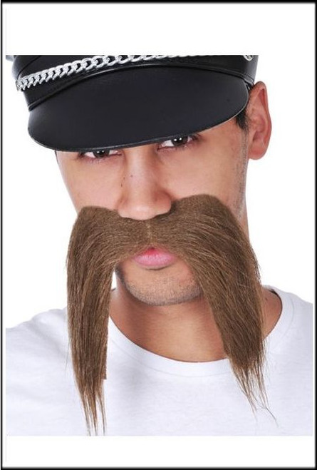 classic long brown adhesive mustache perfect for any costume party.