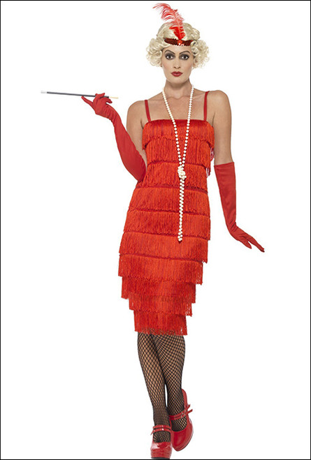 twenties red flapper costume for fancy dress party