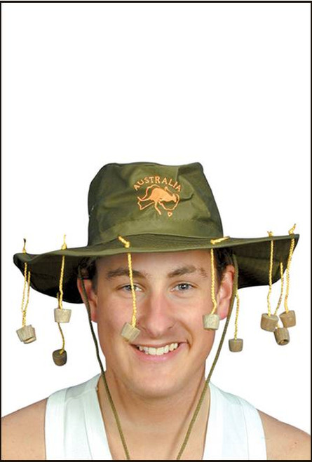 Swaggie hat with corks for Australia day, with embroidery kangaroo