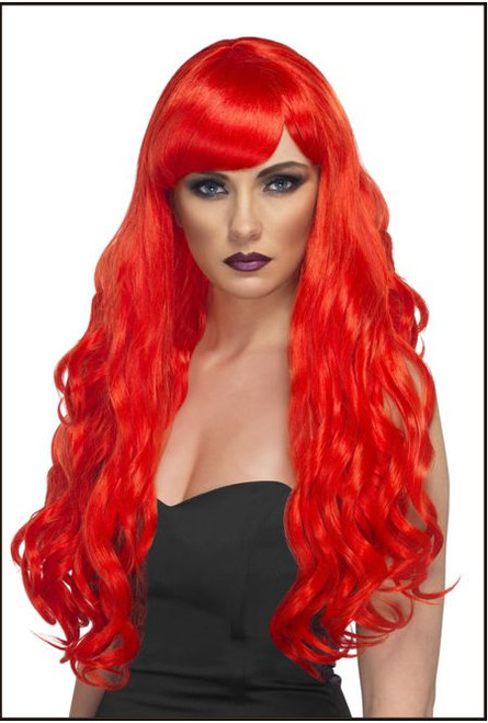 72481 Desire Wig, Red, Long, Curly with Fringe