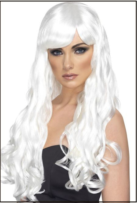 72482 Desire Wig, White, Long, Curly with Fringe