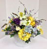 Full Silk Centerpiece in Yellows, Purples, and Blues
