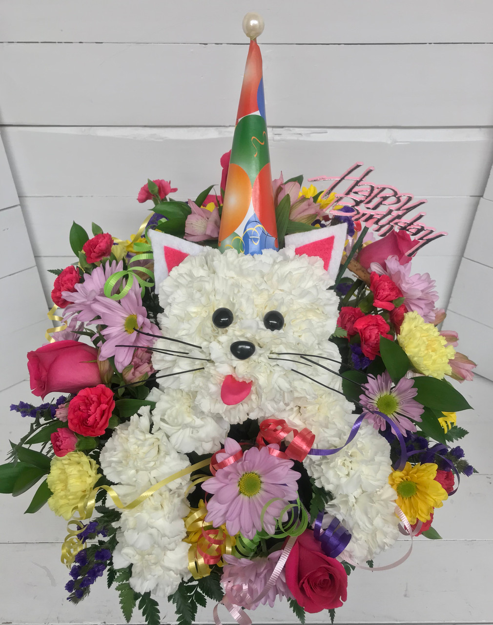 "Happy Birthday Party Cat"" Fresh Arrangement"" - Centerville Florists"