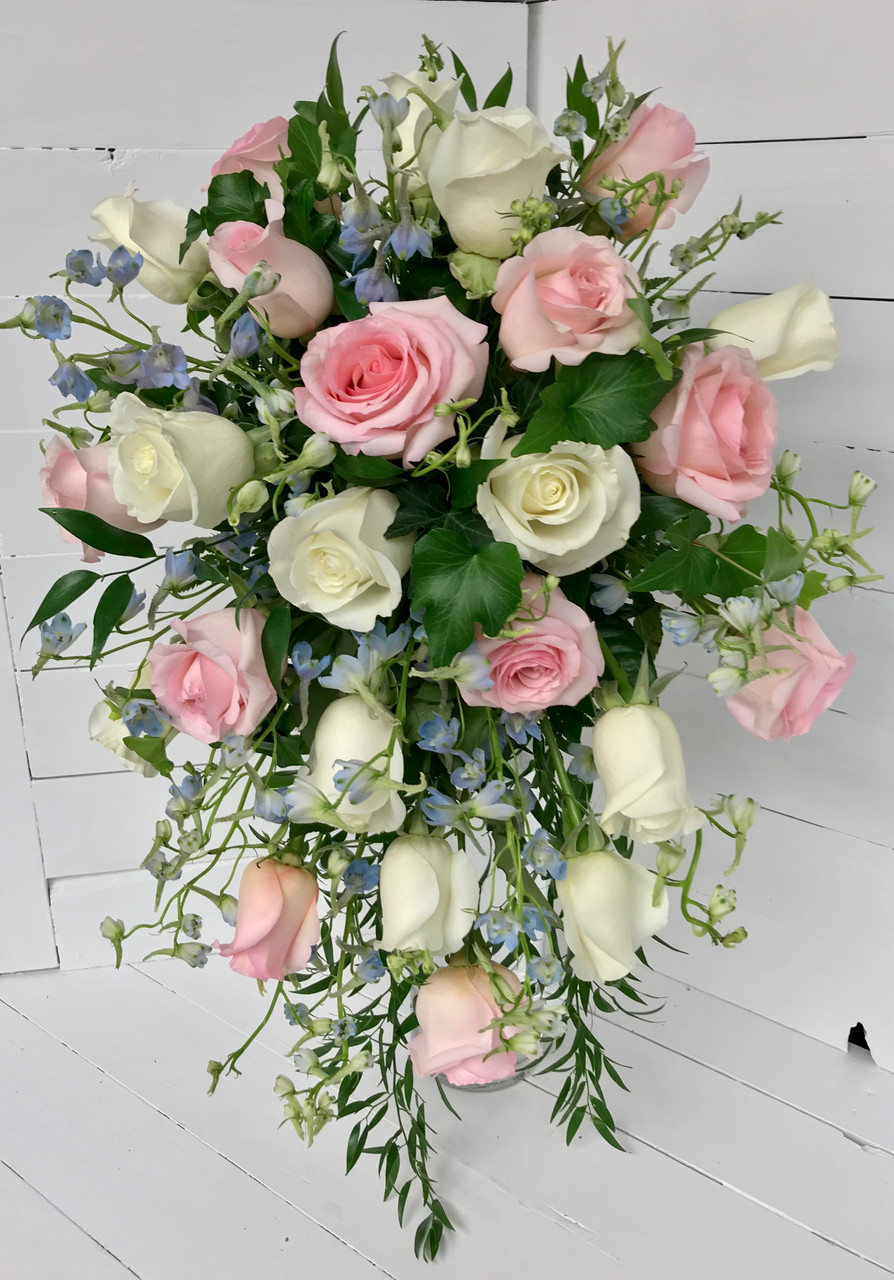 Two Dozen Rose Cascading Bridal Bouquet With Delphinium Centerville Florists