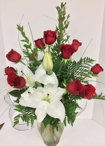 Red Rose and White Stargazer Vase