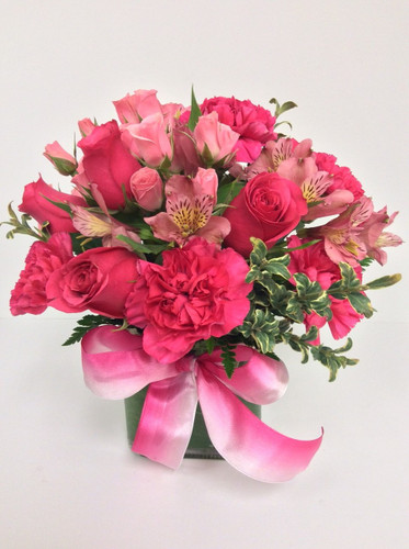 Rose and Peruvian Lily Cube In Pink