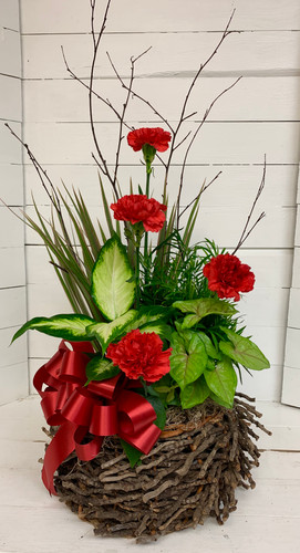 Twiggy Basket Planter with Fresh