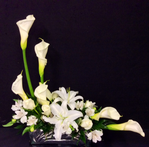Contemporary Arrangement With Calla Lilies and White Stargazers