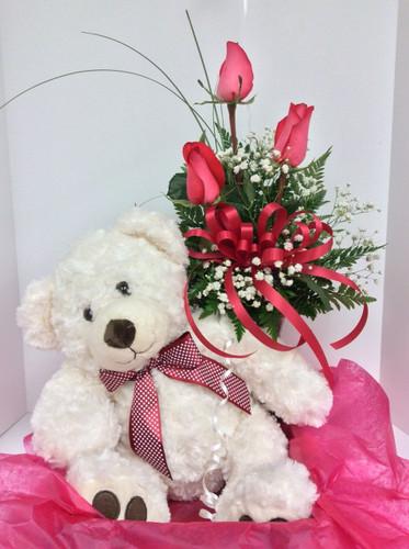 Baxter Bear & Rose Bud Vase