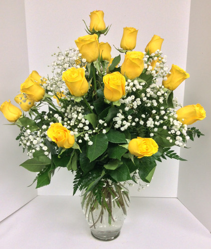 Two Dozen Short Stemmed Yellow Roses Arranged