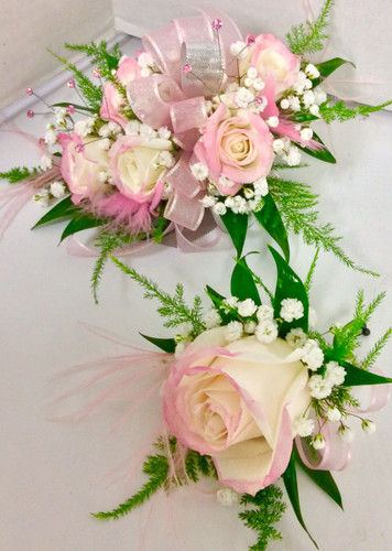 5 Bloom Tipped Sweetheart Corsage and Matching Boutonnière