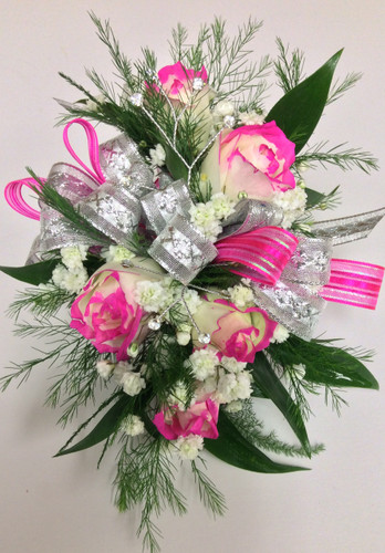 Tipped Sweetheart Rose Wrist Corsage with Rhinestones