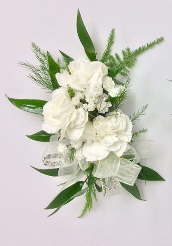 Children's size wrist corsages with mini carns