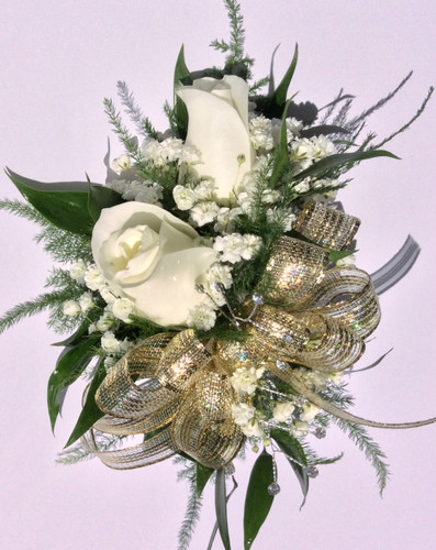 Wrist corsage in whites and golds