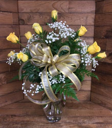 Premium Dozen Long Stemmed Yellow Roses Arranged