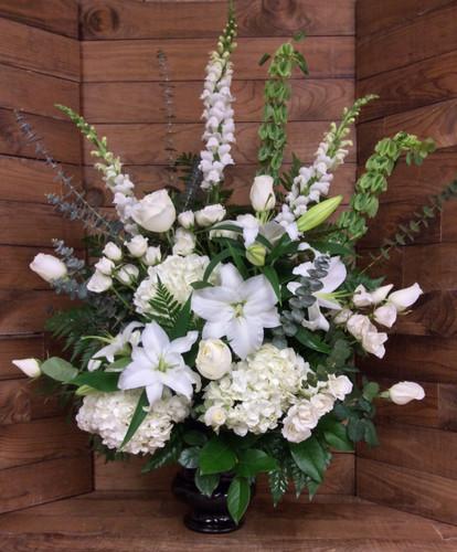 Elegant Sympathy Urn in Whites and Creams