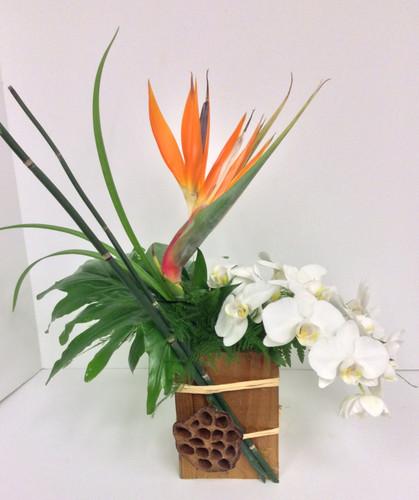 Bird and Orchid Lotus Box Arrangement