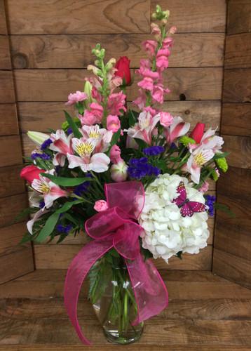 Sheer Pink Delight Mixed Vase