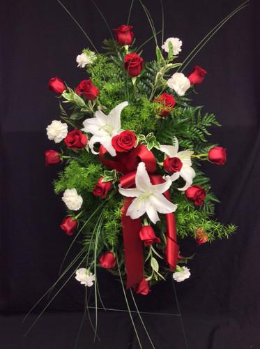 Striking Red Rose and White Stargazer Easel