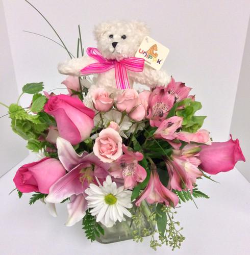 """Beary Precious"" Baby Girl Vase Arrangement With Bear"