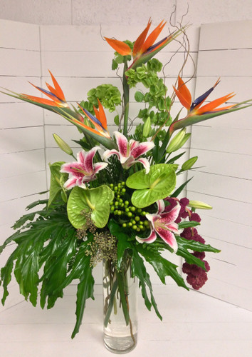 Large Exotic tribute cylinder vase arrangement
