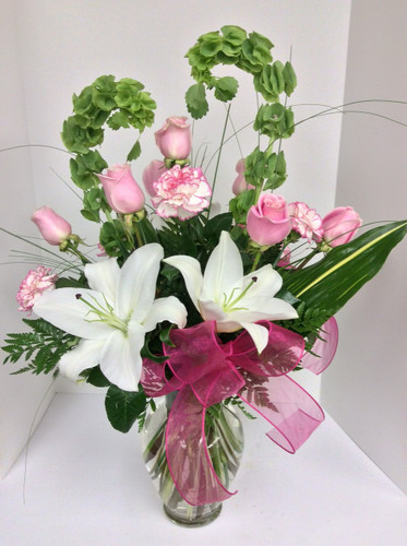 Peaceful Serenity Vase in Pinks and Whites